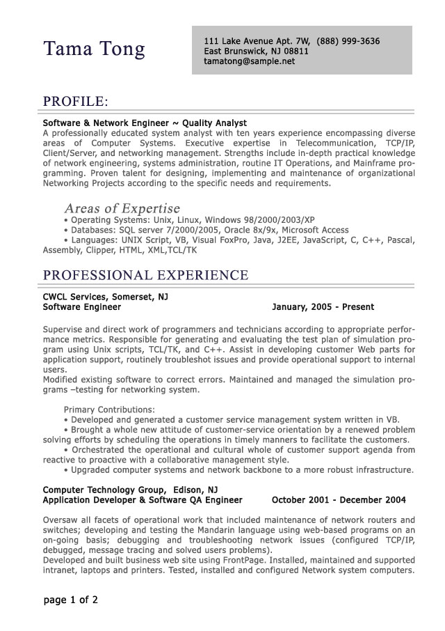 professional level resume samples resumesplanet it examples res proff lab technician Resume It Professional Resume Examples