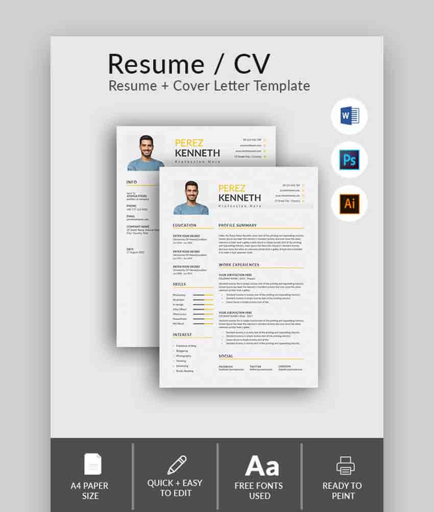 professional ms word resume templates simple cv design formats standard size of paper Resume Standard Size Of Resume Paper