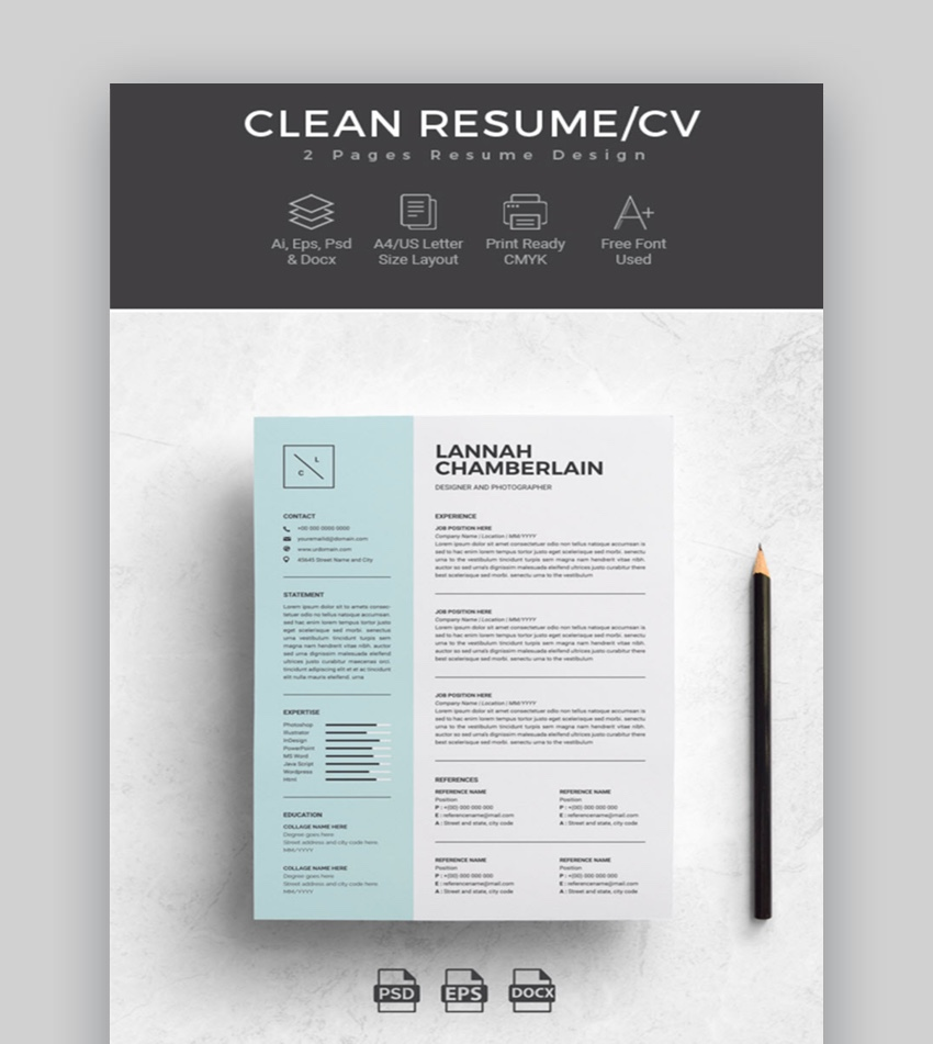 professional ms word resume templates simple cv design formats template clean for Resume Word Resume Template 2020