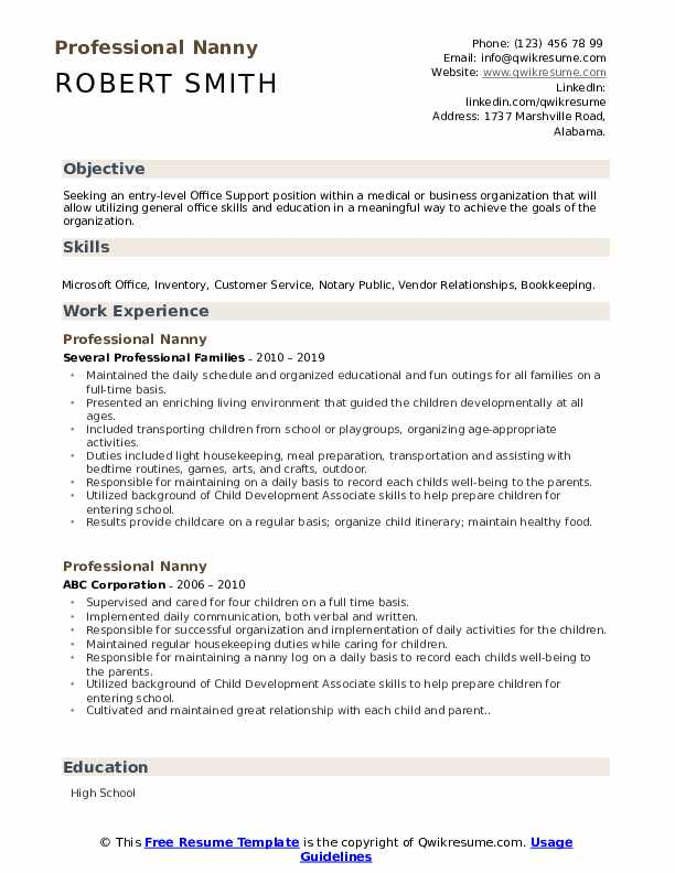 professional nanny resume samples qwikresume objective for position pdf seek writing Resume Resume Objective For Nanny Position