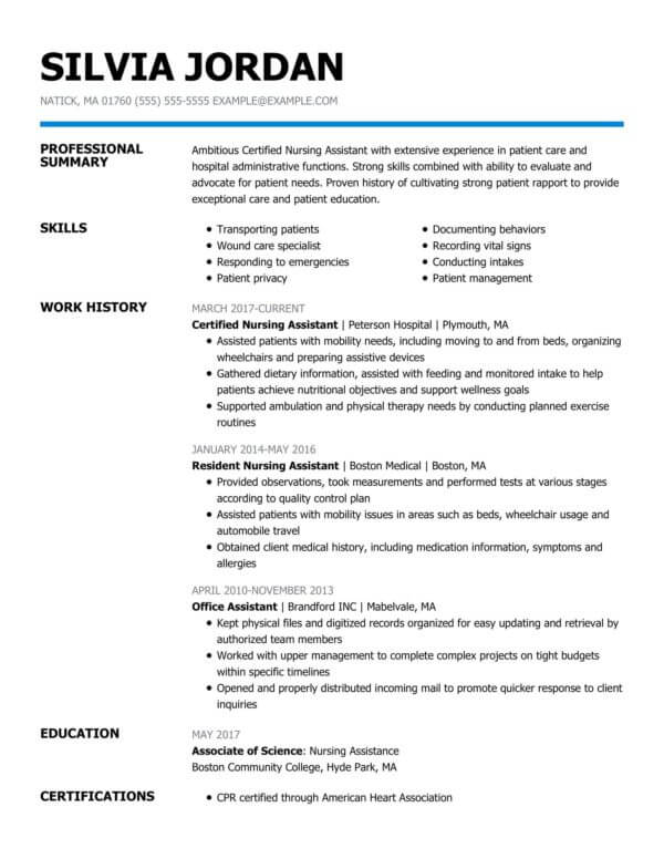 professional nursing resume examples livecareer student profile certified assistant Resume Nursing Student Resume Profile