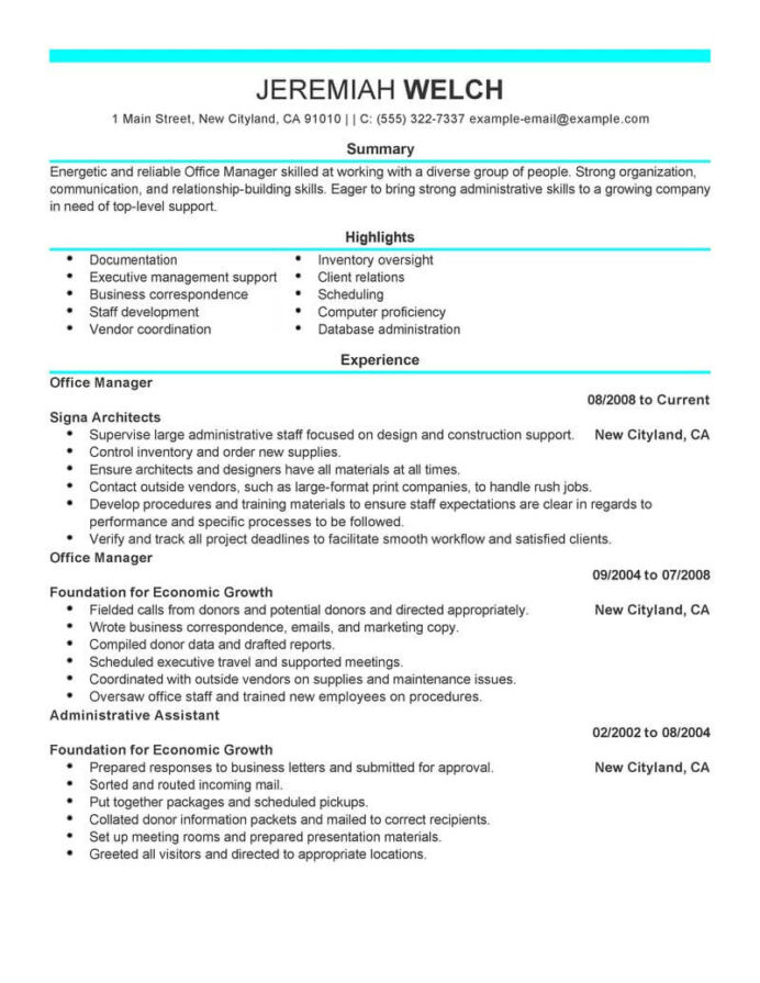 professional office manager resume examples administrative livecareer skills for job Resume Admin Manager Resume Examples