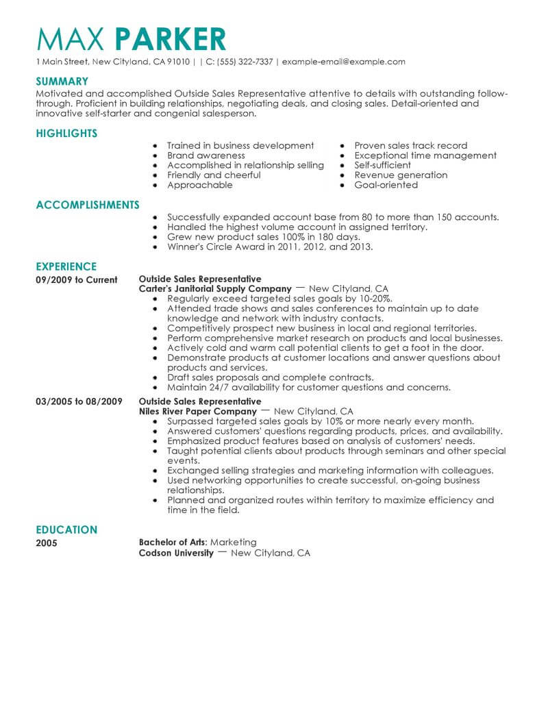 professional outside representative resume examples livecareer bullet points maintenance Resume Sales Resume Bullet Points