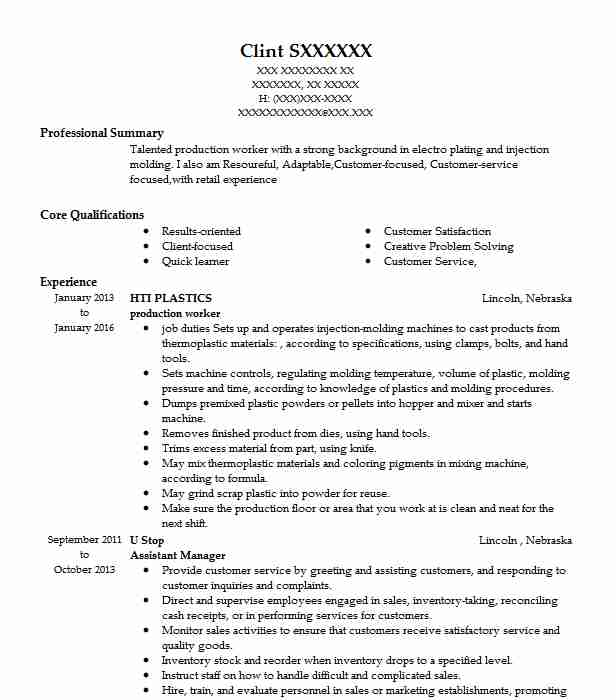 professional production worker resume examples livecareer entry level designated survivor Resume Entry Level Production Resume