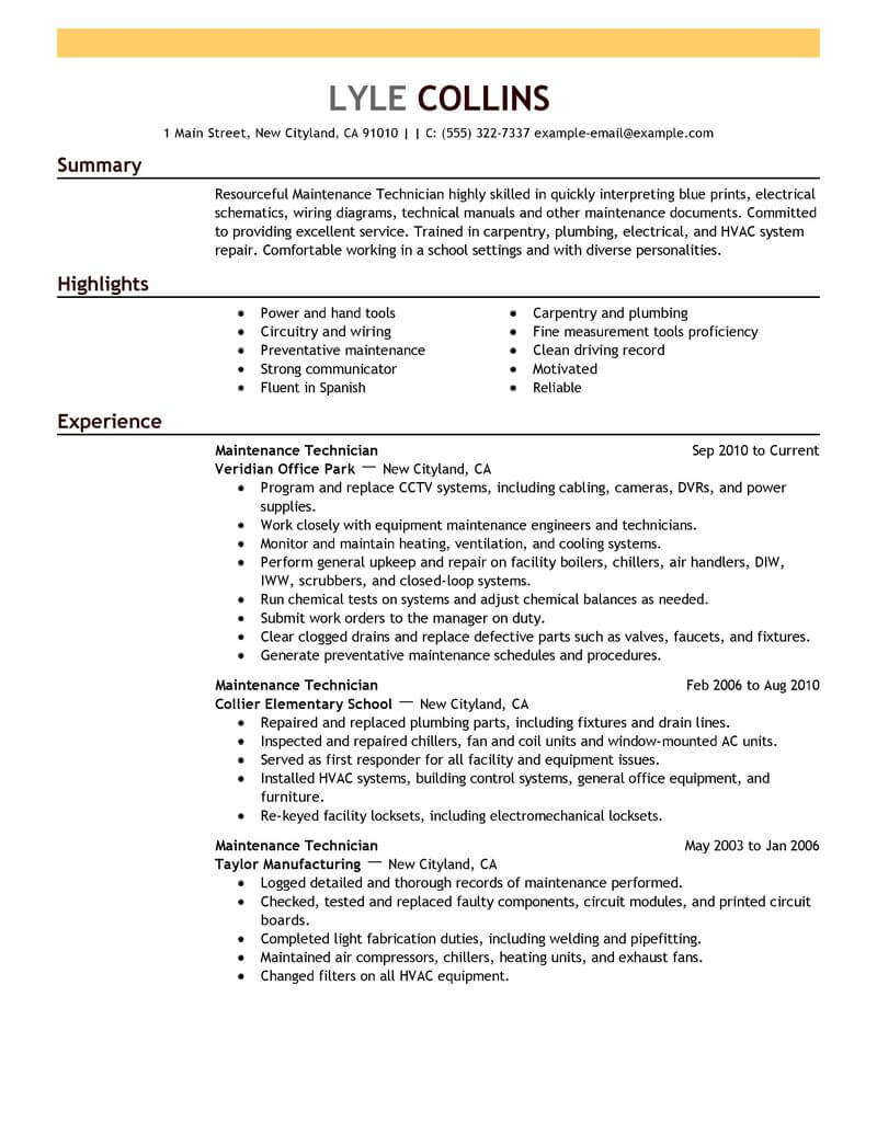 professional resume examples livecareer machine maintenance technician janitorial Resume Machine Maintenance Technician Resume
