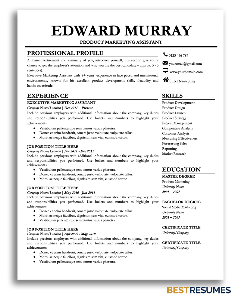 professional resume template edward bestresumes info best one for google docs electrical Resume Best One Page Resume Template