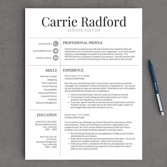 professional resume template for word cv one two and three instant job looking sample Resume Professional Looking Resume