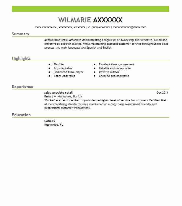 professional retail associate resume examples livecareer sample vs abstract builder with Resume Sales Associate Resume Sample