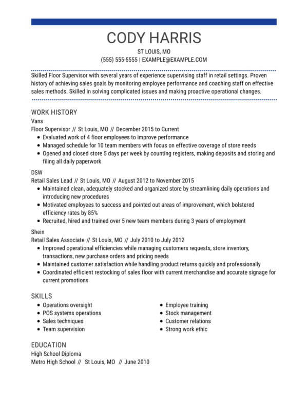 professional retail resume examples livecareer job template centered chrono floor Resume Retail Job Resume Template