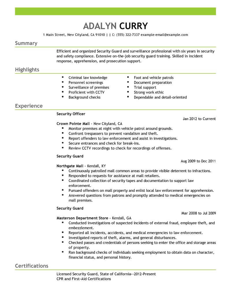 professional security guard resume examples safety livecareer officer template emergency Resume Security Officer Resume Template