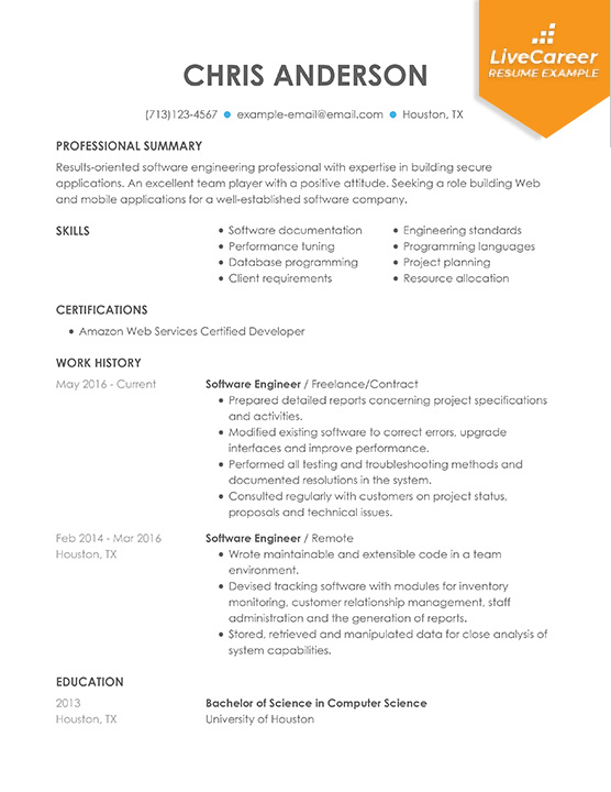 professional software engineer resume examples computer livecareer format for example Resume Resume Format For Computer Engineer