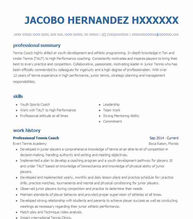 professional tennis player resume example wta women association fort for college self Resume Tennis Resume For College