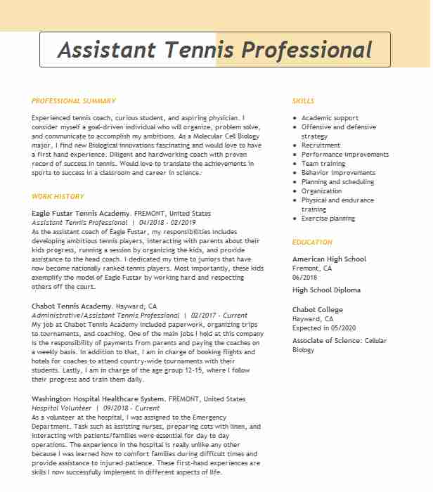 professional tennis player resume example wta women association fort for college steel Resume Tennis Resume For College