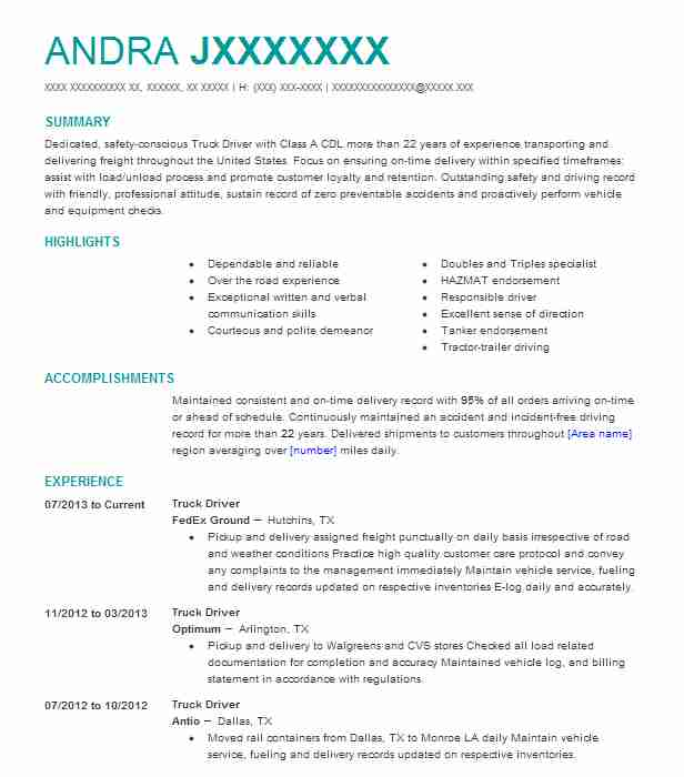 professional truck driver resume examples driving livecareer free sample format for Resume Free Sample Truck Driver Resume