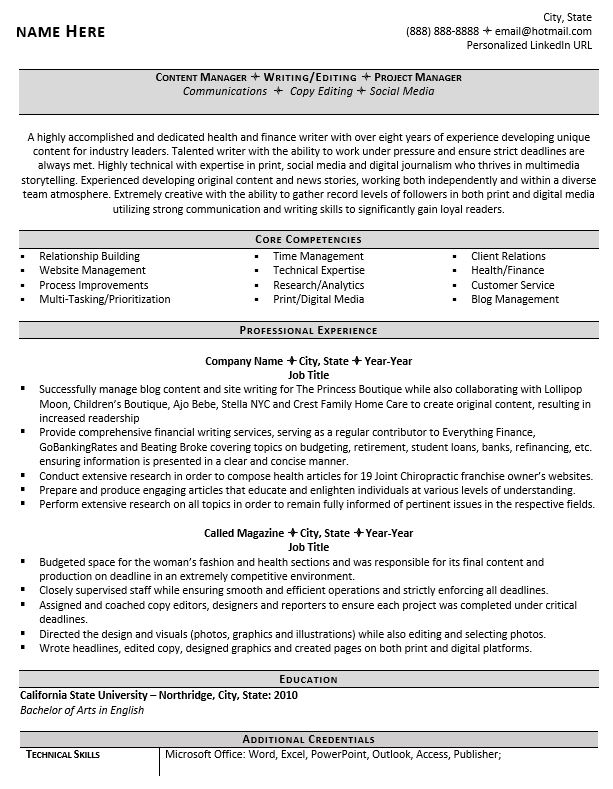 professional writer and editor resume example guide core competencies examples product Resume Core Competencies Resume Examples