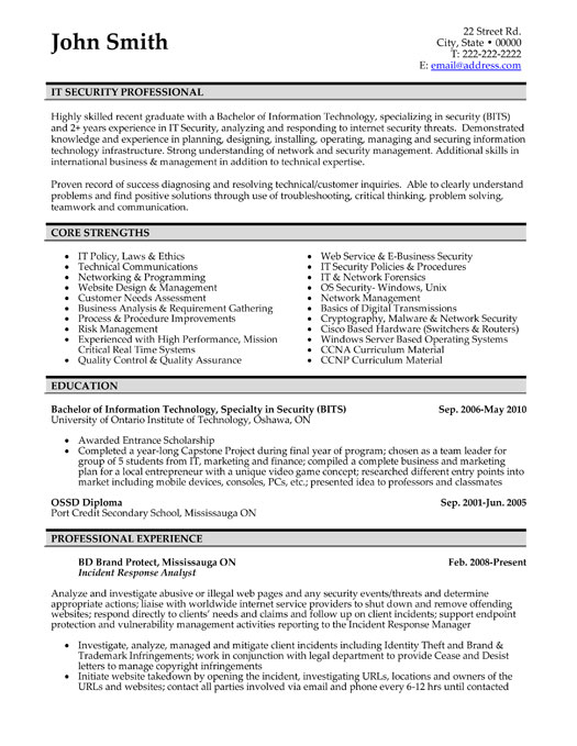 professionals resume templates samples free security profesisonal it professional sample Resume Free Security Resume Templates