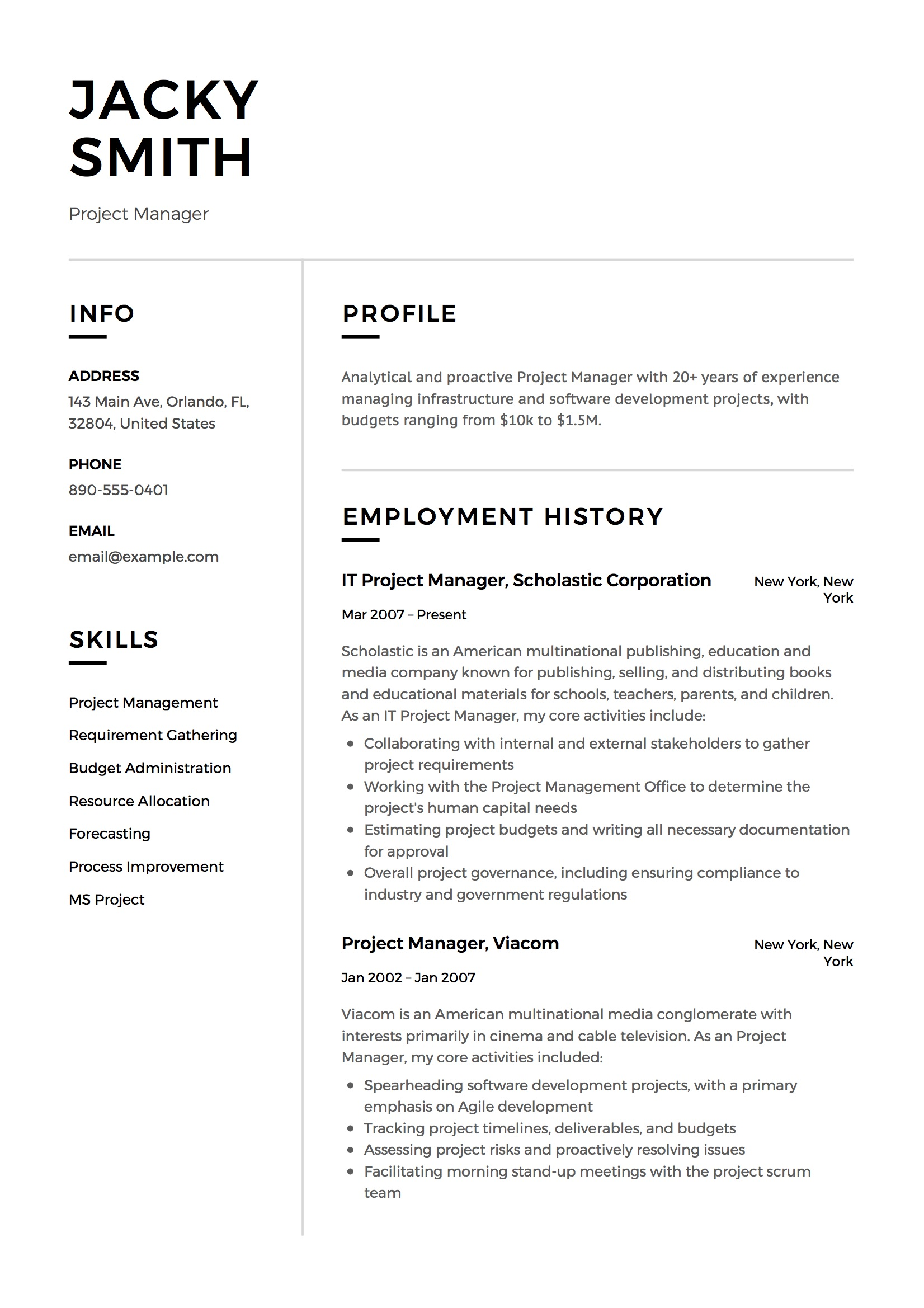 project manager resume examples full guide pdf word budget hair stylist action words for Resume Project Manager Budget Resume