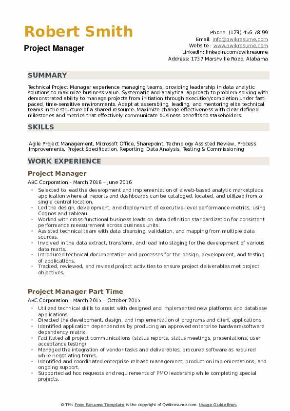 project manager resume samples qwikresume it projects pdf good bartender landscaping job Resume It Projects Manager Resume