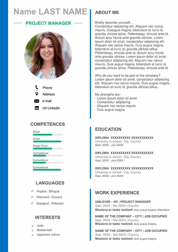 project manager resume template for word free cv footer designated survivor saison Resume Manager Resume Template Word
