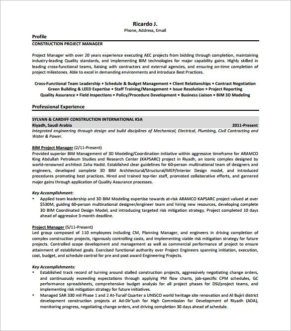 project manager resume template free word excel pdf format premium templates construction Resume Manager Resume Template Word