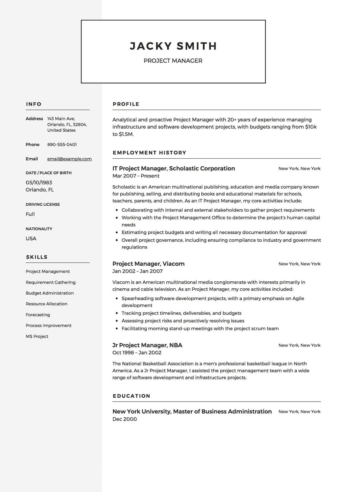 project manager resume templates basic examples template word writing for job application Resume Manager Resume Template Word