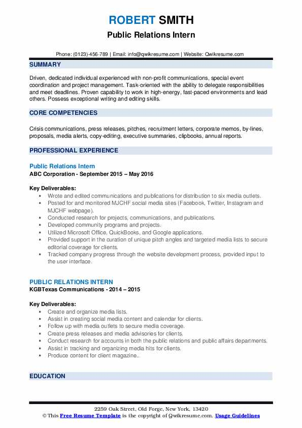 public relations intern resume samples qwikresume student pdf restaurant manager examples Resume Public Relations Student Resume