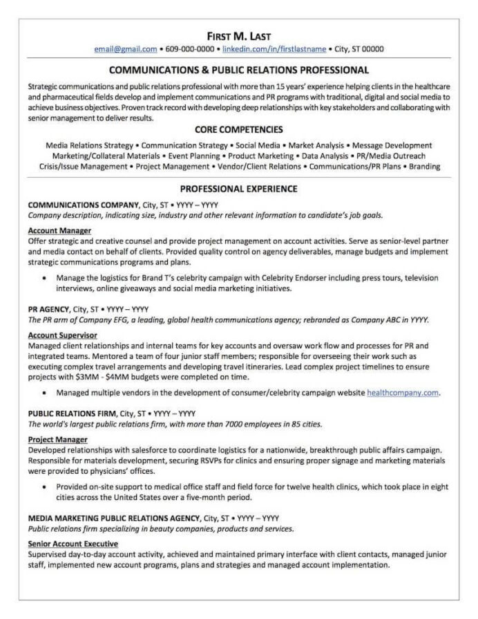public relations resume sample professional examples topresume best ats format page1 Resume Best Ats Resume Format