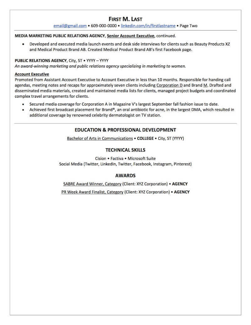 public relations resume sample professional examples topresume student page2 computer Resume Public Relations Student Resume