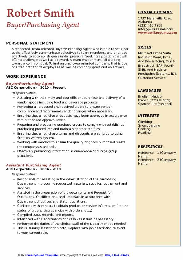purchase resume sample pdf manager samples professional examples purchasing agent Resume Professional Resume Examples Pdf