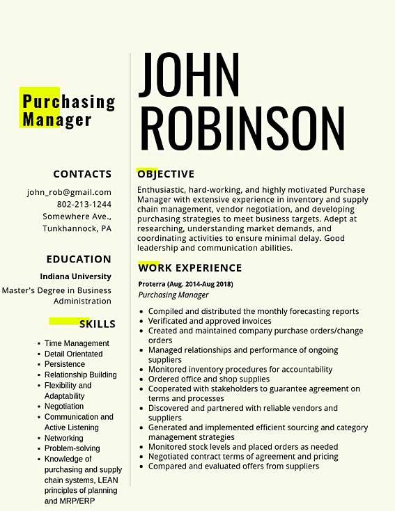 purchasing manager samples templates pdf word resumes bot order management specialist Resume Order Management Resume Sample