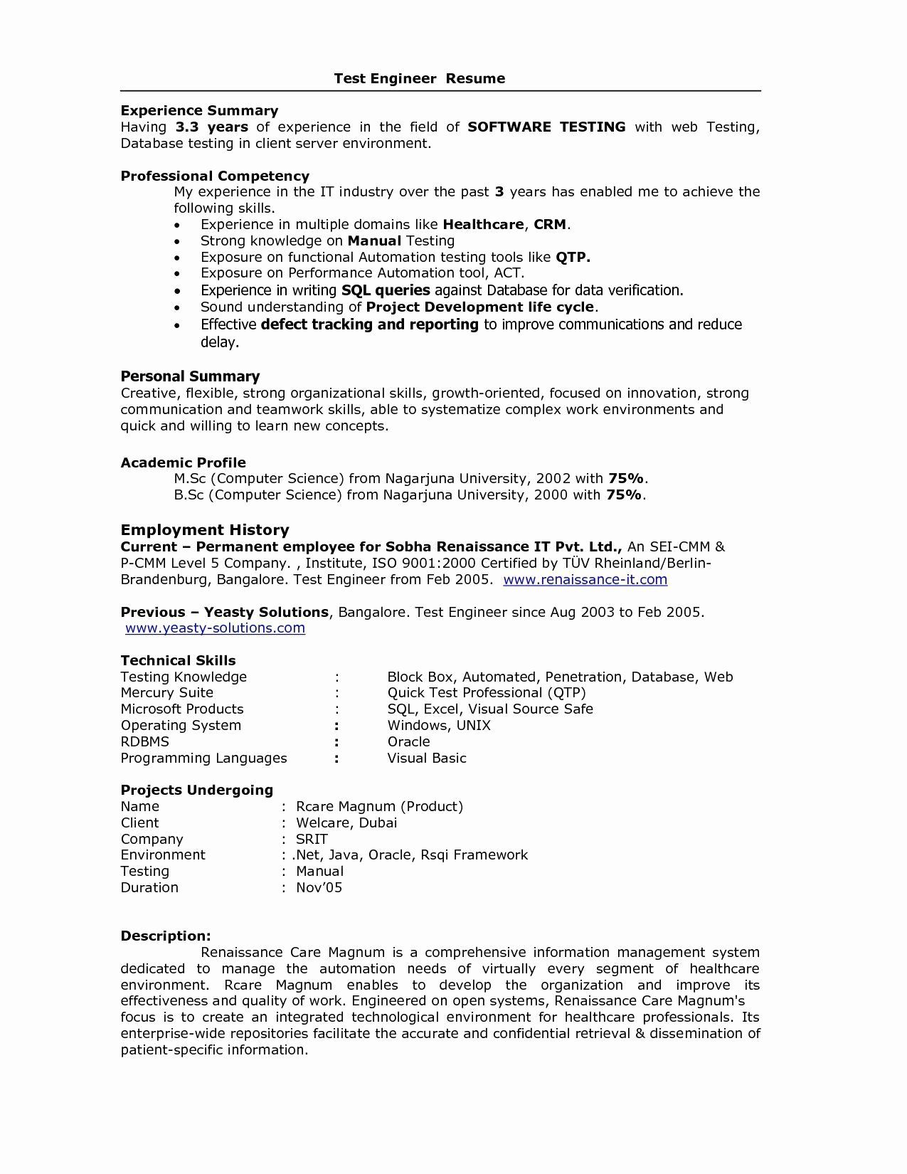 qa tester resume with years experience fresh for in testing fo examples basic Resume Selenium Testing Resume For 2 Years Experience