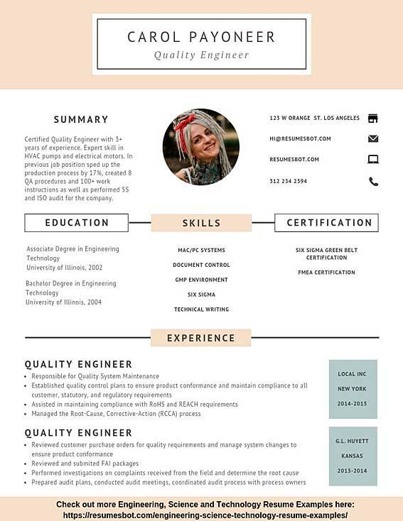 quality engineer resume samples templates pdf resumes bot best for engineers sample Resume Best Resume Templates For Engineers
