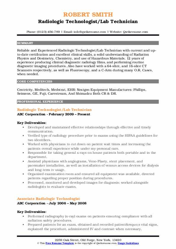 radiologic technologist resume samples qwikresume sample for pdf free functional template Resume Sample Resume For Radiologic Technologist