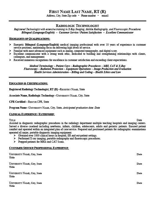 radiologic technologist resume template premium samples example radiology examples Resume Sample Resume For Radiologic Technologist