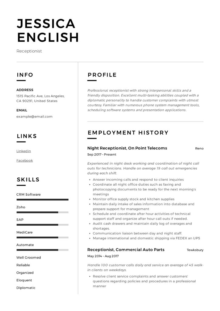 receptionist resume example writing guide samples pdf good examples jessica english Resume Good Resume Examples 2020