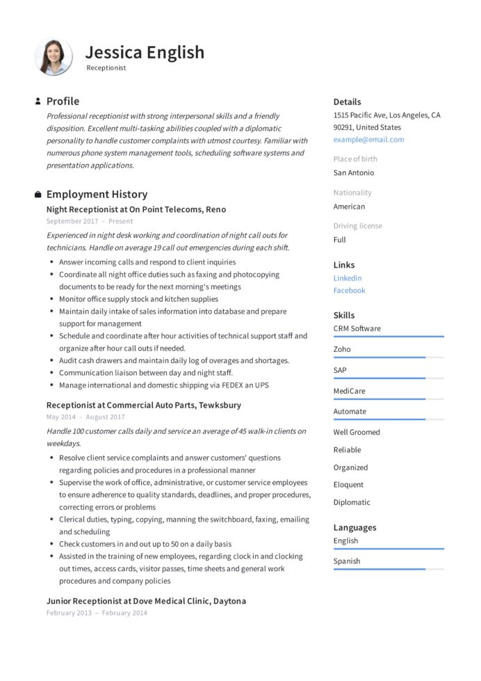 receptionist resume example writing guide samples pdf no experience jessica english eit Resume No Experience Receptionist Resume