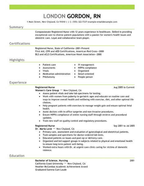 registered nurse resume template for microsoft word livecareer new healthcare example Resume New Nurse Resume Template