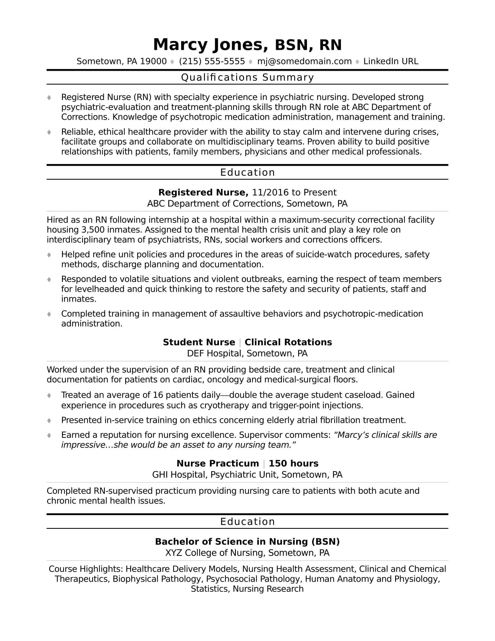 registered nurse rn resume sample monster of entry level executive samples experience Resume Sample Of A Registered Nurse Resume