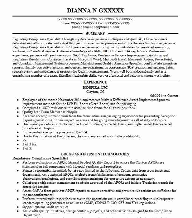 regulatory compliance specialist resume example livecareer officer template system Resume Compliance Officer Resume Template