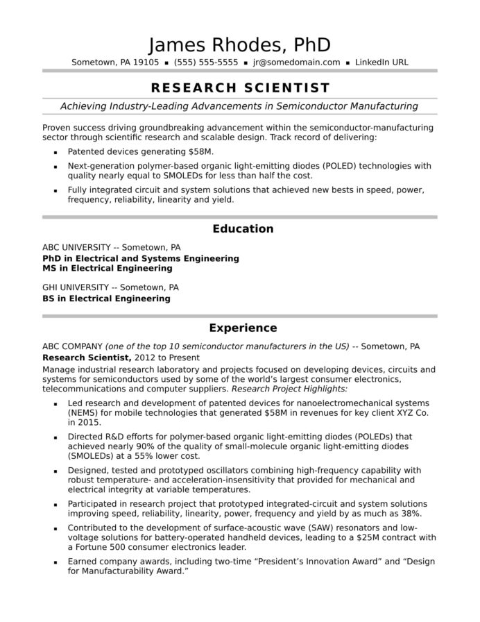research scientist resume sample monster writing the perfect midlevel profile samples Resume Writing The Perfect Resume