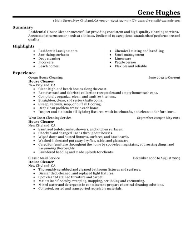 residential house cleaner resume examples free to try today myperfectresume self employed Resume Self Employed House Cleaner Resume