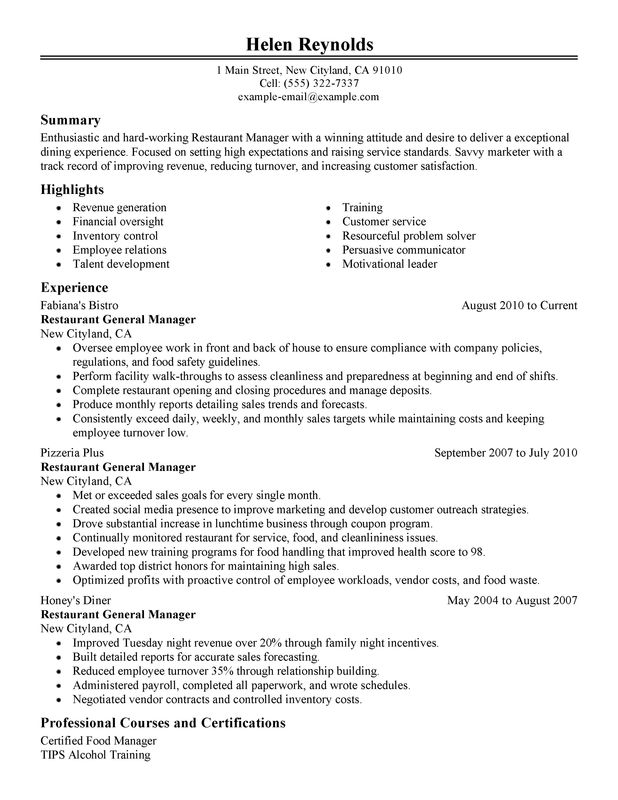 restaurant manager resume ipasphoto examples management introduction lines for volunteer Resume Restaurant Manager Resume Examples