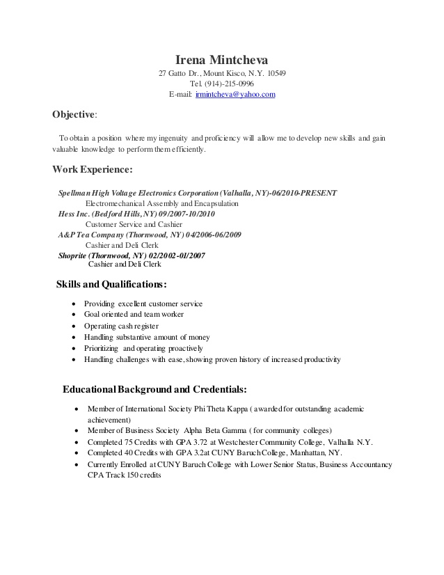 resume baruch college template good summary for examples writer direct operational risk Resume Baruch College Resume Template