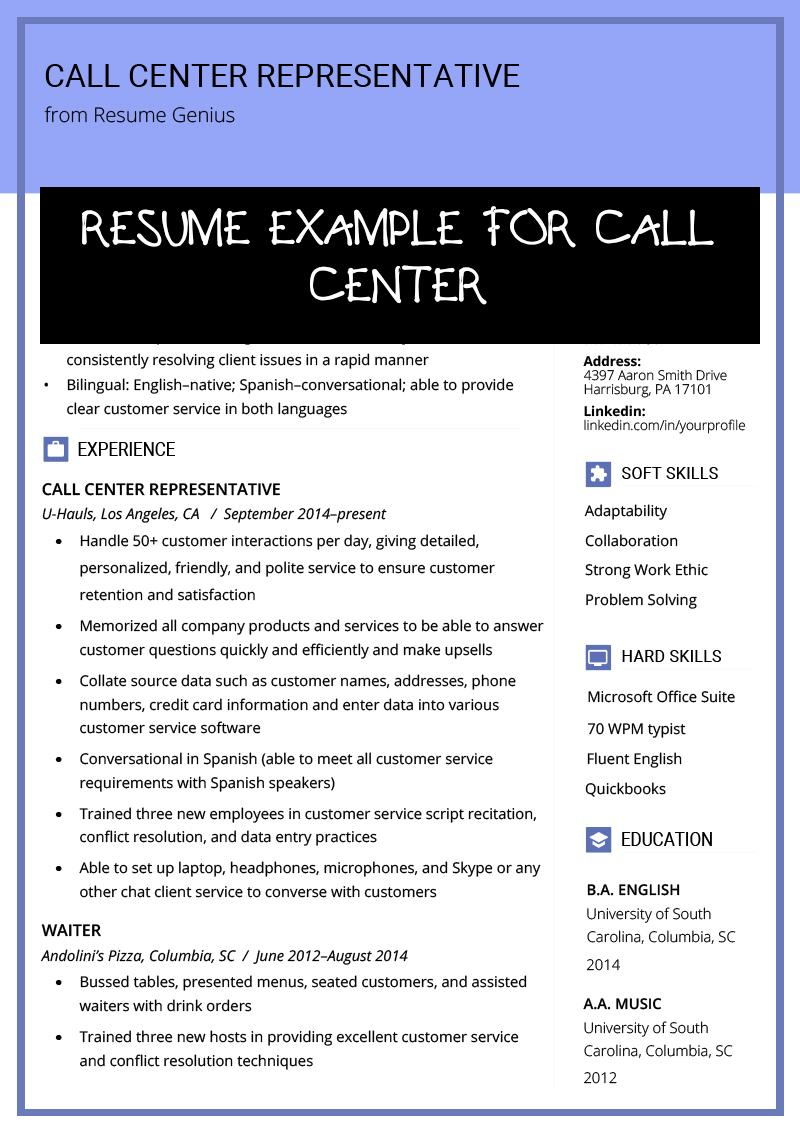 resume example for call center free templates customer service examples of representative Resume Call Center Customer Service Resume Examples