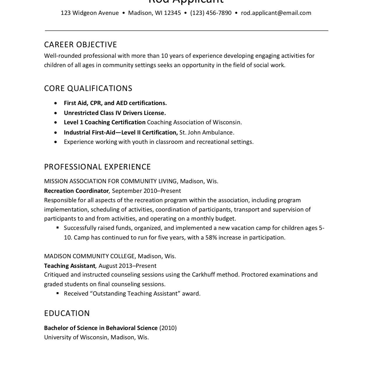 resume example for childcare social services worker child care sample word format Resume Child Care Resume Sample