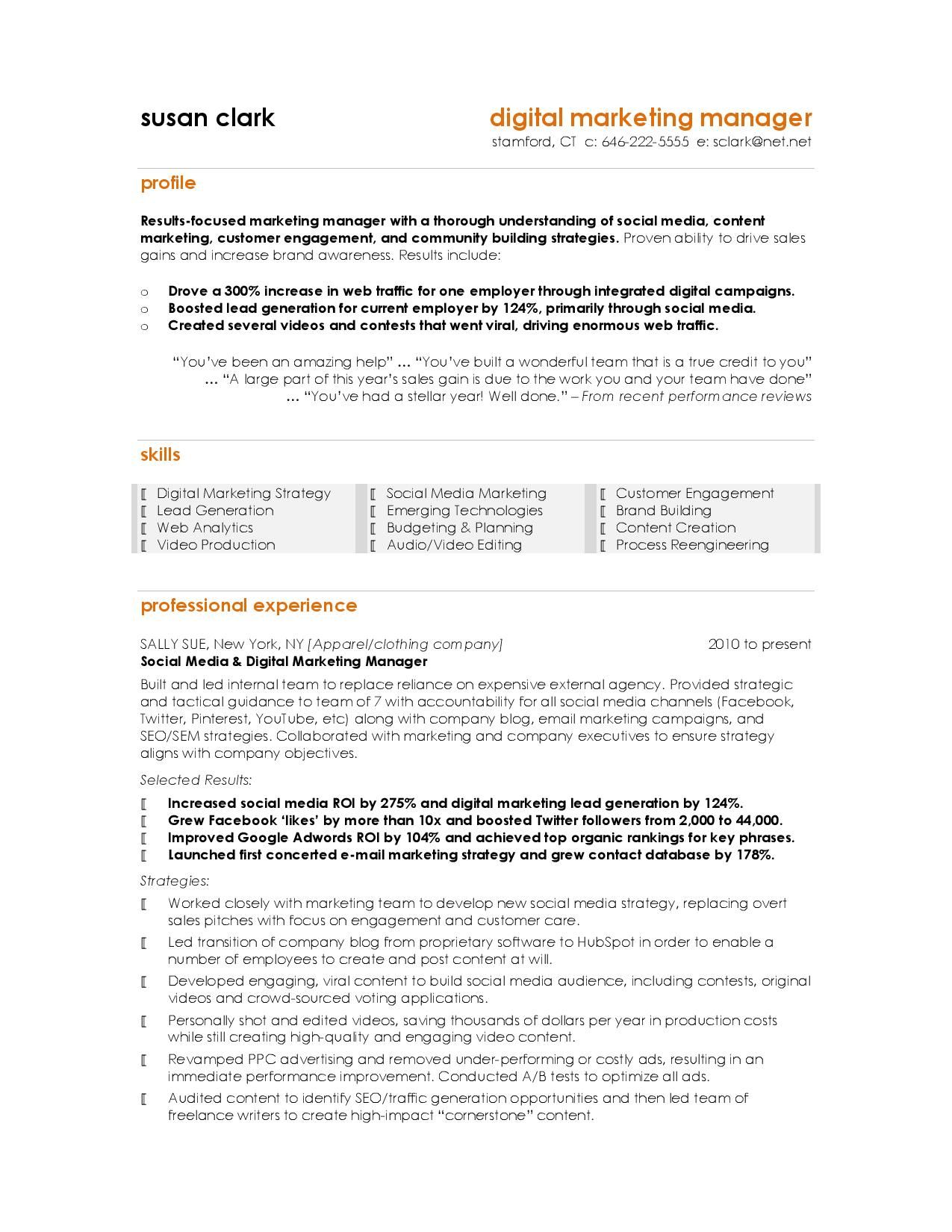 resume examples digital marketing manager template for awards and honors section perfect Resume Resume Template For Digital Marketing
