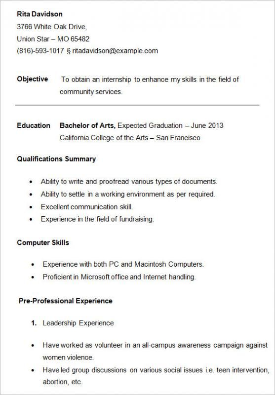 resume examples for college students check more at https nationalgriefawarenessday Resume Davidson College Resume Template