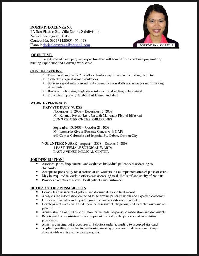 resume examples for nurses cover letter with salary requirements job format template Resume Private Duty Nurse Resume Sample