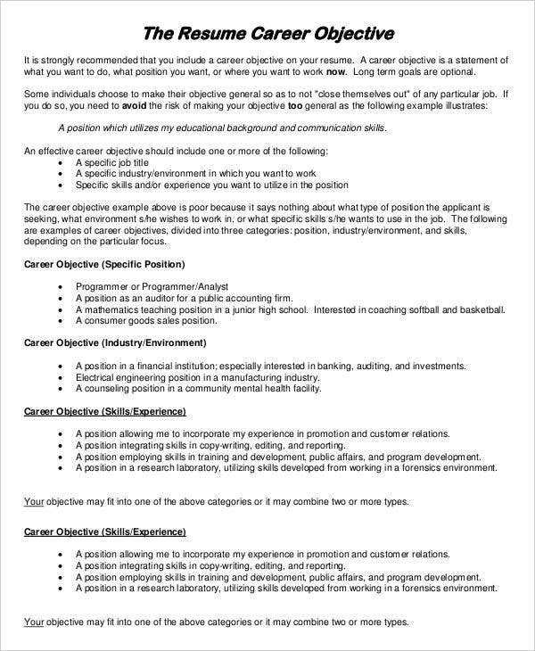 resume examples pdf free premium templates with one term job career objective example Resume Resume With One Long Term Job