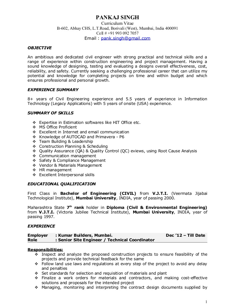 resume for construction project manager louiesportsmouth objective pks civil 17jan2014 Resume Project Manager Resume Objective